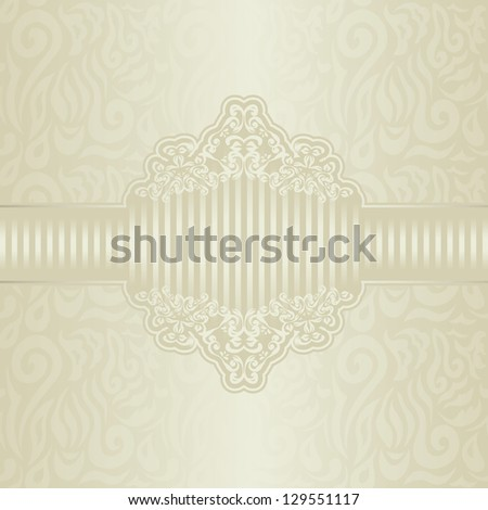 Seamless background with an elegant floral frame in pastel colors. Retro style