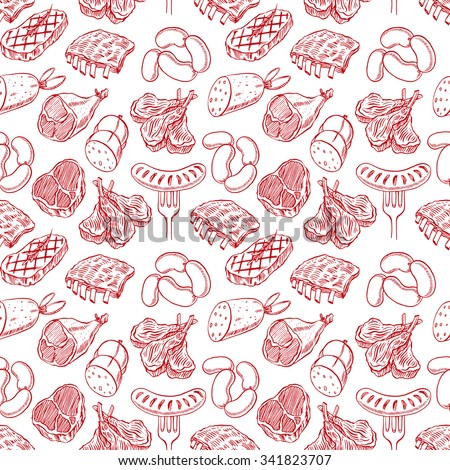 seamless background with appetizing sketch meat products. hand-drawn illustration