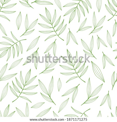 Seamless background with bamboo leaves and branches. Set of bamboo tree leaves. Hand drawn botanical collection.  Drawing of parts of bamboo and sections of branches and leaves.