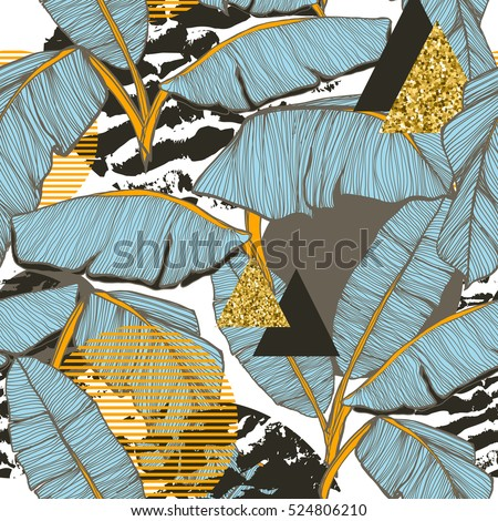 Seamless background with banana leaves