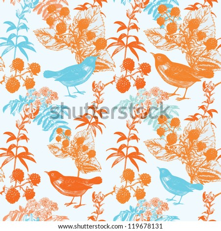 seamless background  with bird and berry