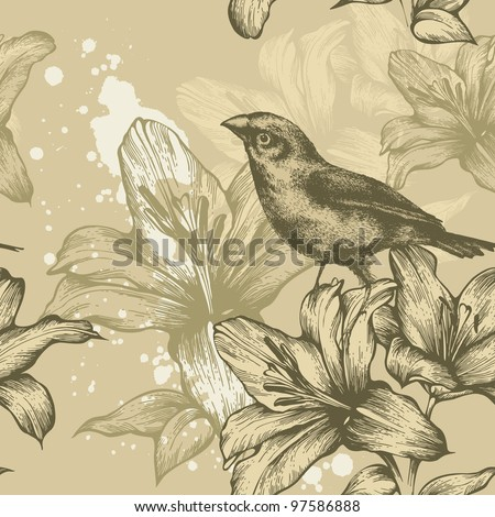 Seamless background with birds and flowering lilies, hand-drawing. Vector.