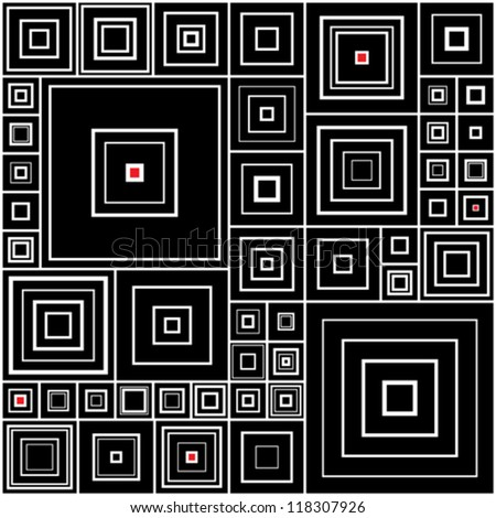 Seamless background with black and white squares with red accents