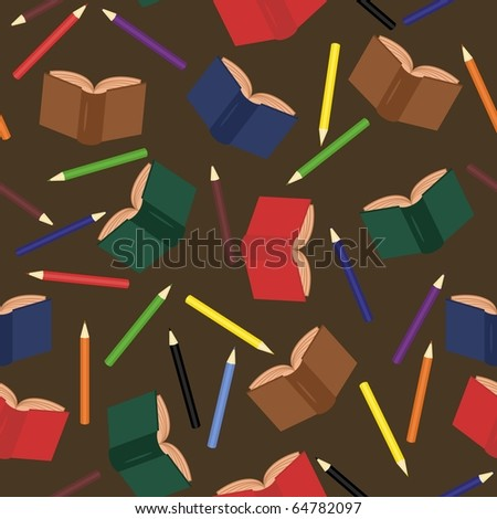 seamless background with books and pencils