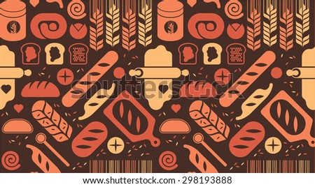Seamless background with bread silhouettes