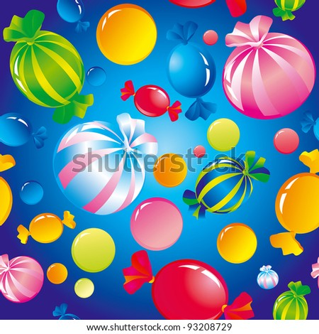 Seamless background with bright multi-coloured sweets and sugar candies