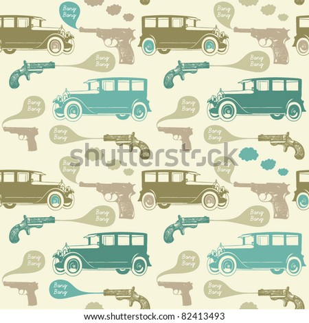 Seamless  background with cars and revolvers in retro style