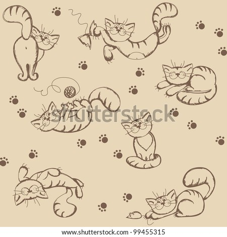 Seamless background with cartoon funny cats