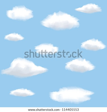 Seamless background with clouds on sky.
