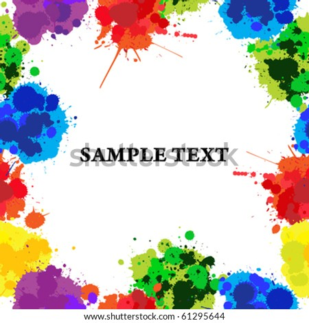 Seamless background with color ink spots, frame for text of photography