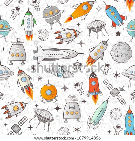 Seamless background with colored space rockets and other space elements