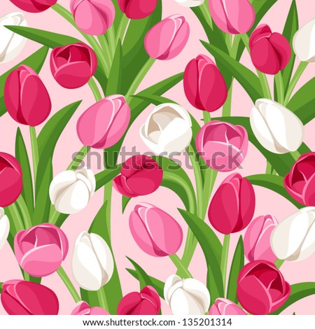Seamless background with colored tulips. Vector illustration.