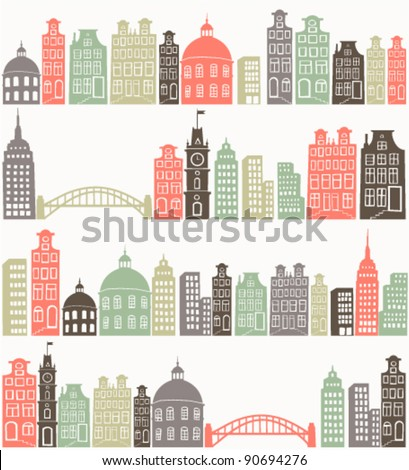 seamless background with colorful city silhouette - stock vector