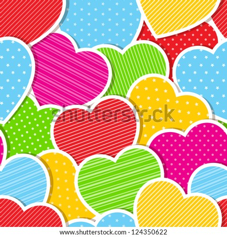 Seamless background with colorful hearts. Vector illustration.