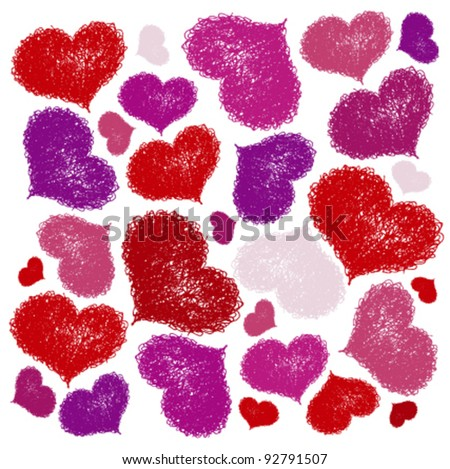 seamless background with coloured hearts
