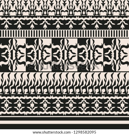 Seamless background with contrasting floral pattern on different stripes #1298582095