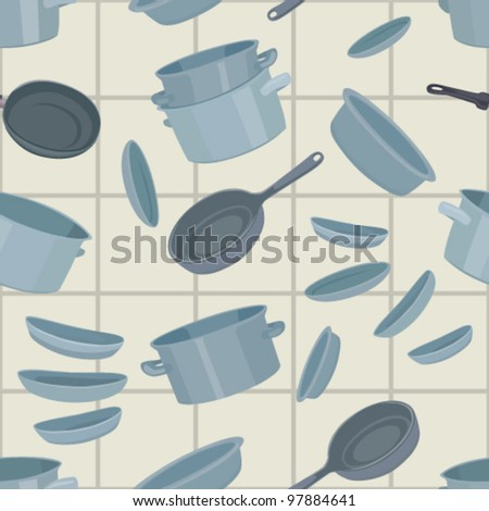 Seamless background with cookware, vector illustration