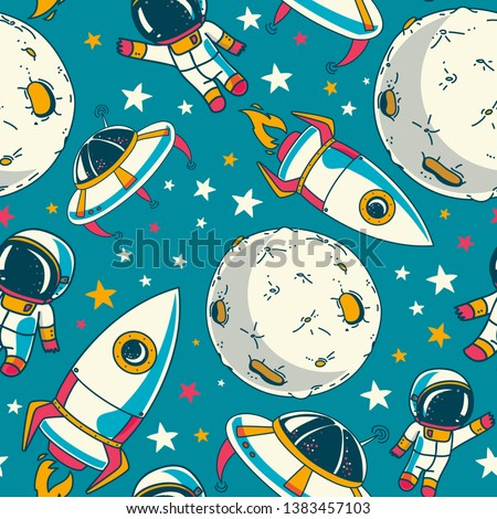 Seamless background with cute doodle astronauts, planets, spaceships and stars, vector illustration