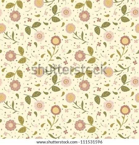Seamless background with cute pink flowers