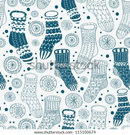 Seamless background with decorative winter stockings, illustration for design, vector
