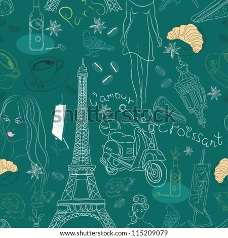 Seamless background with different Paris doodle elements,vector illustration for design