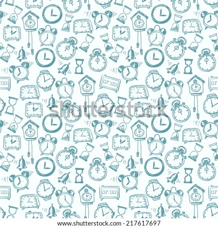 Seamless background with doodle sketch watches and other time symbols. Hand-drawn illustration.