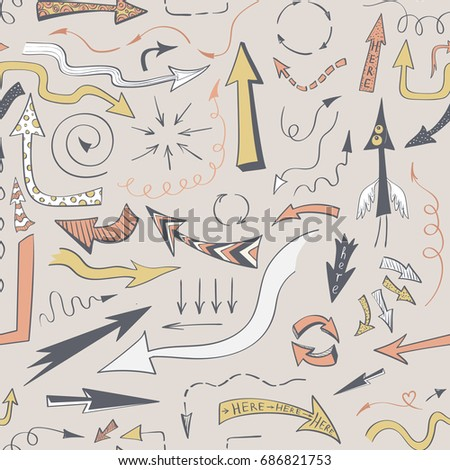 Seamless background with drawing doodles arrows on a beige background