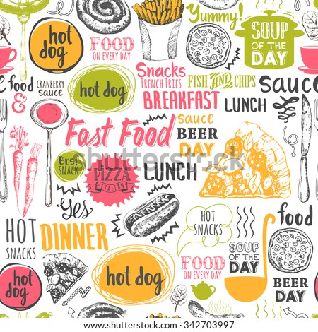 Seamless background with fastfood symbols. Menu pattern. Vector Illustration with funny food lettering and labels on white background. Decorative elements for your packing design. Multicolor decor.