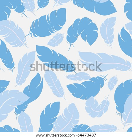 Seamless background with feathers in three colors themes