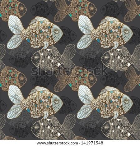Seamless background with fish for Design, vector