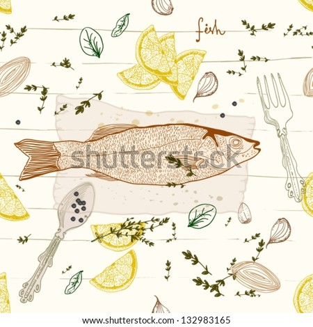 Seamless Background with fish taste dish, vector