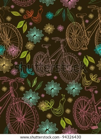 Seamless background with flowers, bike and bird over dark, vector