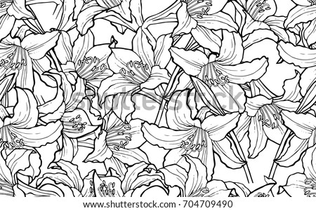 Seamless background with flowers Lilies. Floral design for fabric, greeting cards, Wallpaper, wrapping paper, clothing, wedding invitation, flower shops. Vector illustration