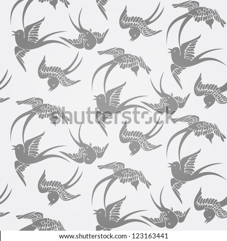 Seamless background with flying swallows