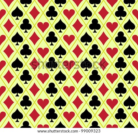 Seamless background with for different playing card symbols. Vector illustration. Easy to edit.
