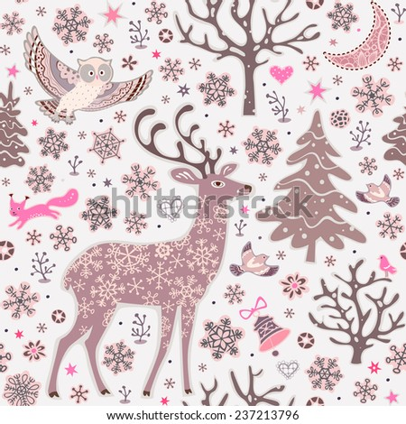 seamless background with forest animals woodland christmas pattern owl deer squirrel - Woodland Christmas