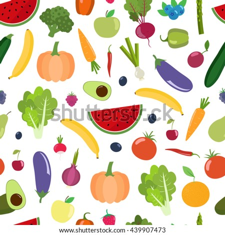 Seamless  background with fruits, vegetables, berries.  Can be used for wallpaper, web page background, surface textures.  #439907473
