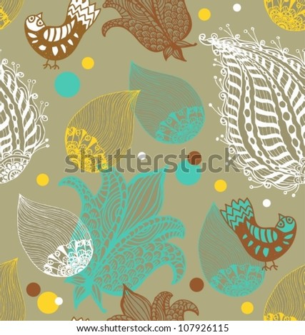 Seamless Background with funny birds and flowers, cute hand drawn vector illustration
