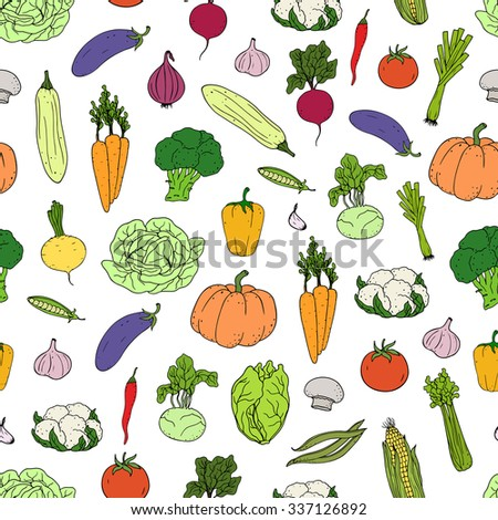 Seamless  background with  hand-drawing colorful vegetables.   Can be used for wallpaper, web page background, surface textures.  #337126892