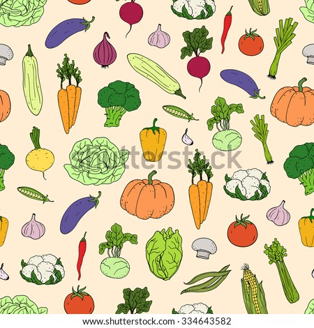 Seamless  background with  hand-drawn colorful vegetables. Can be used for wallpaper, web page background, surface textures.  #334643582