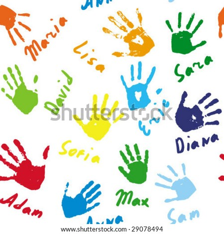 Seamless background with hand prints