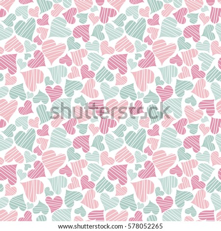 Seamless background with hearts for Valentines and invitation cards. Pattern green and pink. Geometric ornament. Use for wallpaper, printing on the packaging paper, textiles.