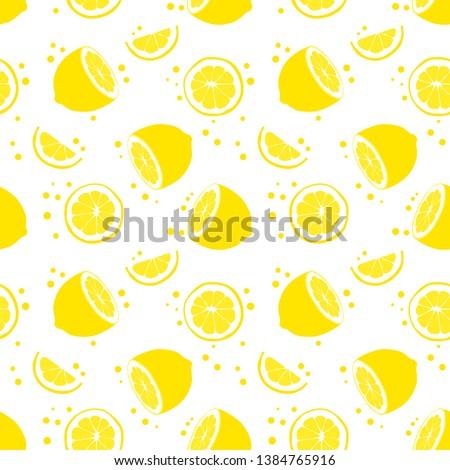 Seamless background with lemon and polkadot. Half of lemon. Slice of lemon. Isolated lemon on white background.
