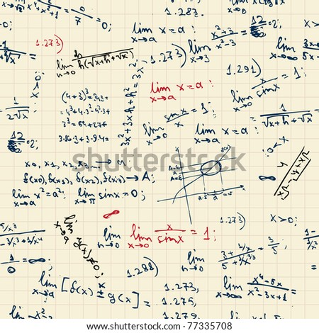 Seamless background with math formulas on blackboard - stock vector