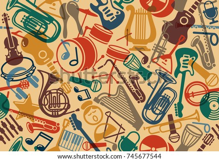 Seamless background with musical instruments. Vector illustration