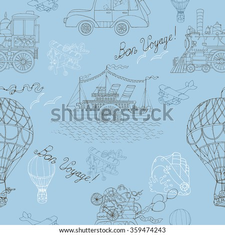 Seamless background with old transport: steam vessel, hot air balloon, retro car and vintage locomotive. Doodle line art with hand drawn design elements