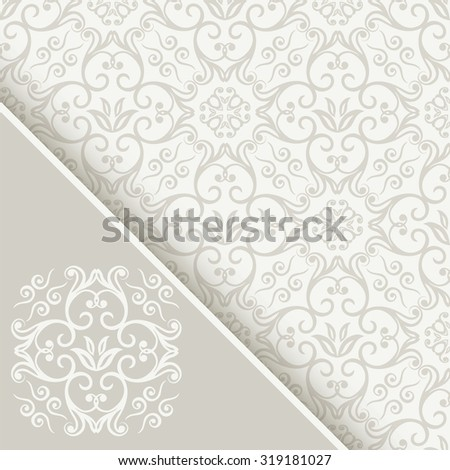 Seamless background with ornamental white and light grey colored pattern,  Invitation card with monogram