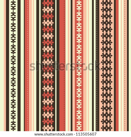 seamless background with ornaments and stripes - stock vector