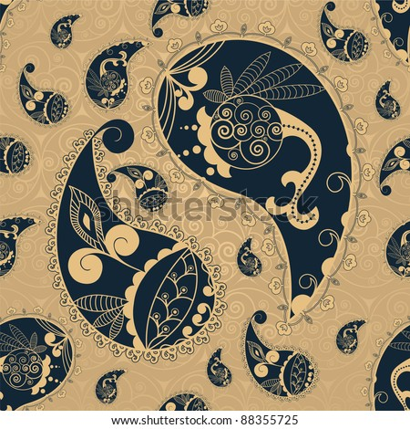 Seamless Background With Paisley Elements