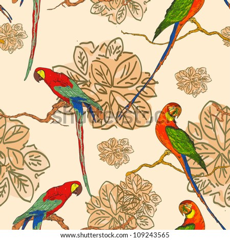 seamless background with parrots